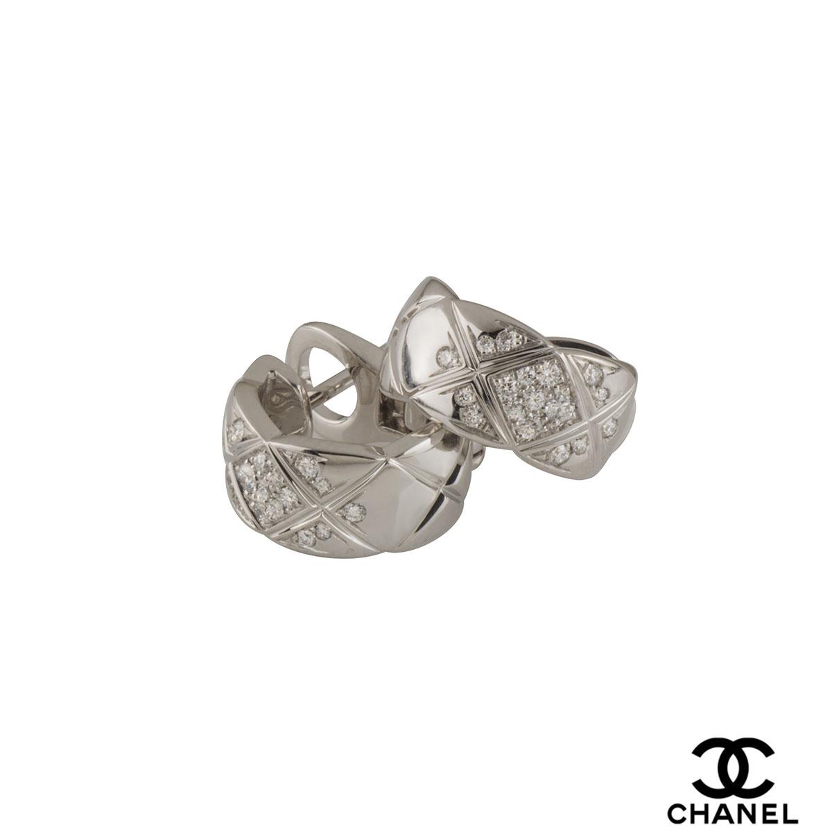chanel white gold diamond coco crush hoop earrings j11135. Black Bedroom Furniture Sets. Home Design Ideas