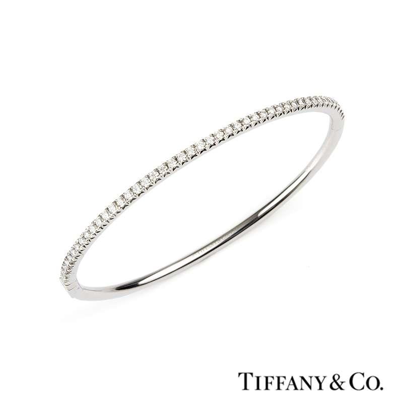 1efc1b941 Tiffany & Co. 18k White Gold Diamond Metro Hinged Bangle - Rich Diamonds Of  Bond Street