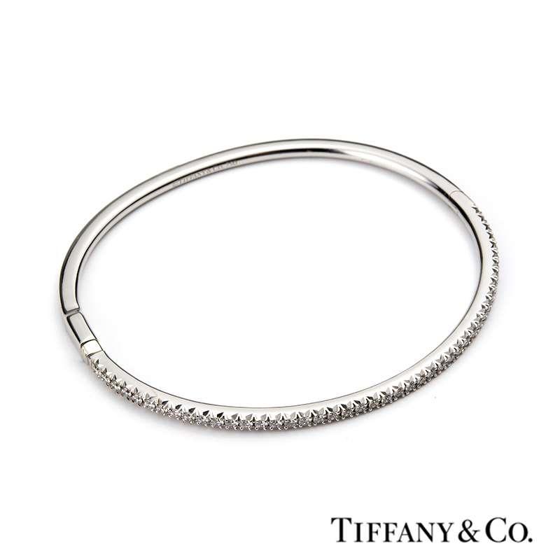 c44e11b9e 18k White Gold Diamond Metro Hinged Bangle; Tiffany & Co. 18k White Gold  Diamond Metro Hinged Bangle ...