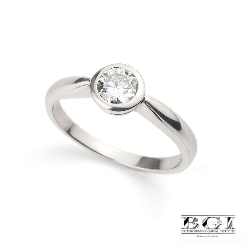 18k White Gold Round Brilliant Cut Diamond Ring 0.50ct D/SI1