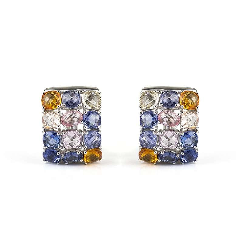 18k White Gold Multi Coloured Sapphire Earrings