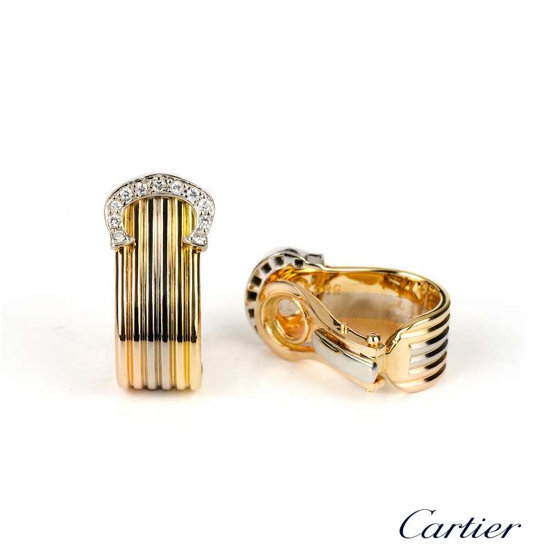 Cartier 18k Tri Gold C De Diamond Earrings