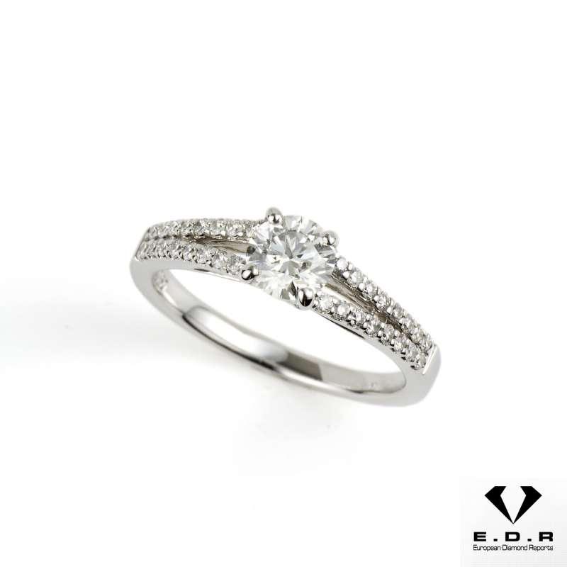 18k White Gold Round Diamond Split Shoulder Ring 0.51ct H/VS1