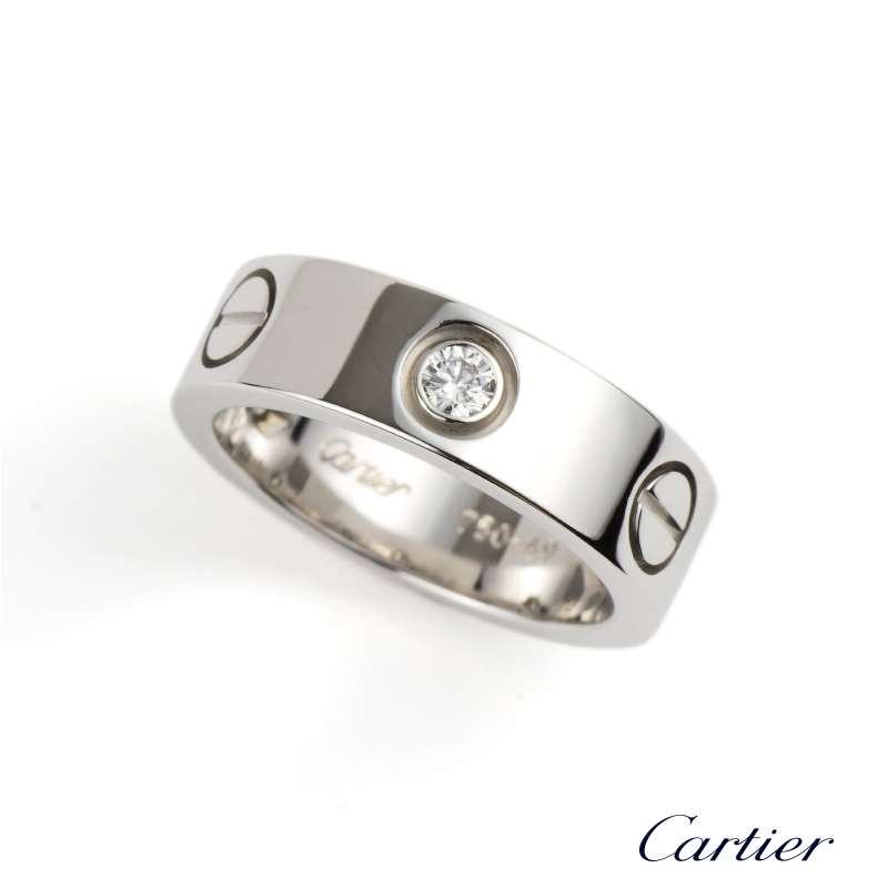09680627e870e Cartier 18k White Gold Half Diamond Love Ring Size 49 B4032500