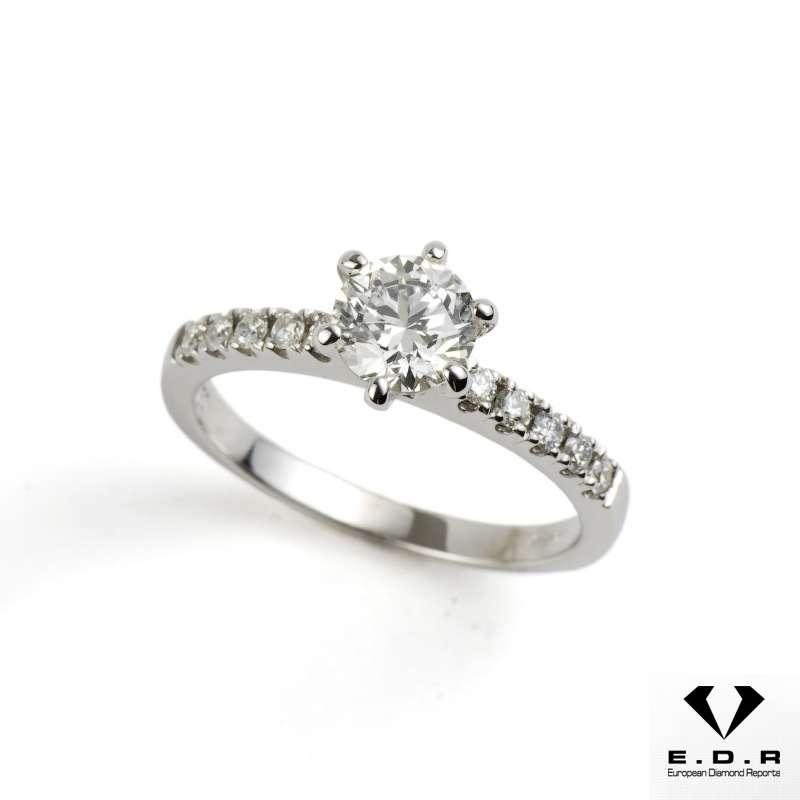 18k White Gold Round Brilliant Cut Diamond Ring 0.71ct H/SI1
