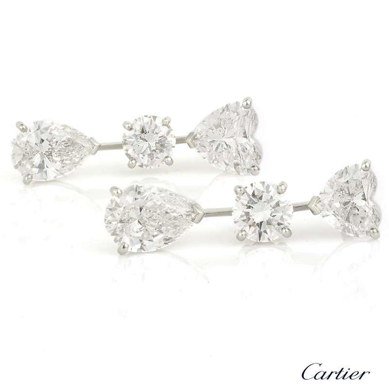 cartier diamond drop earrings in platinum 456ct rich