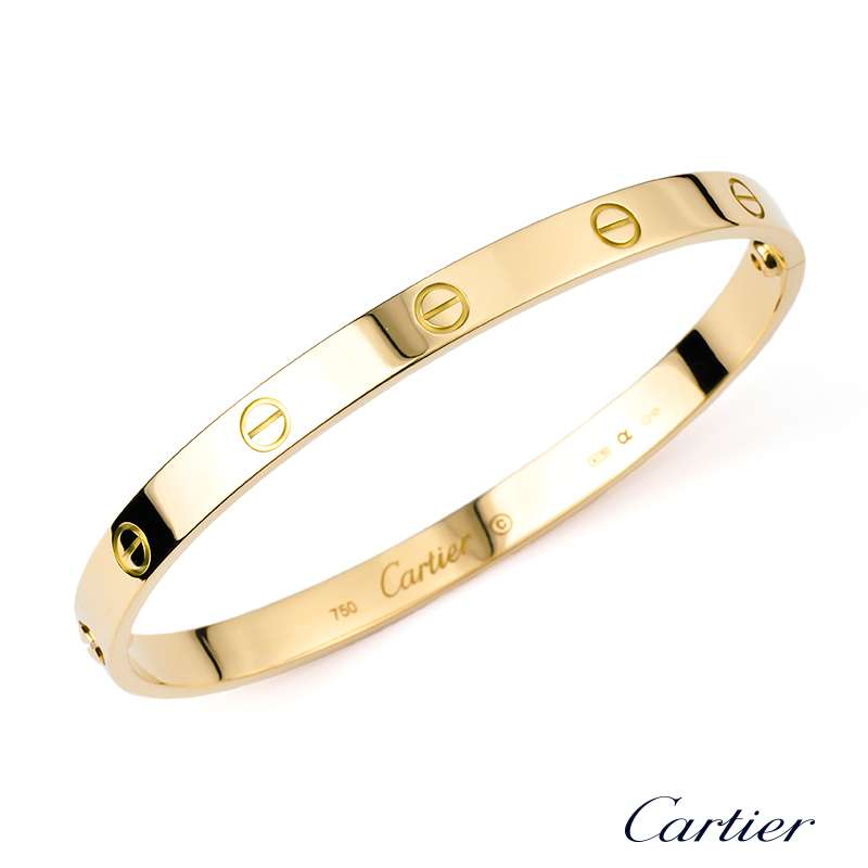 Cartier 18k Yellow Gold Love Bangle Bracelet Size 18 B6035518