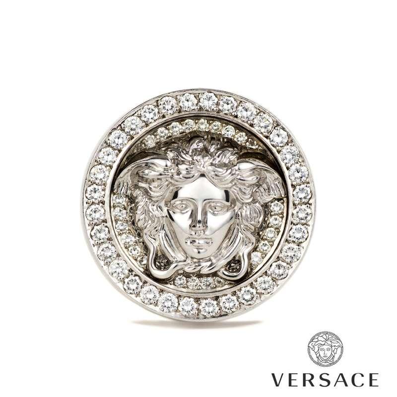 versace 18k white gold set medusa and greca ring