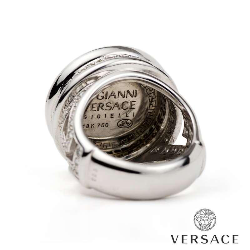 Versace 18k White Gold Diamond Set Medusa And Greca Ring Rich