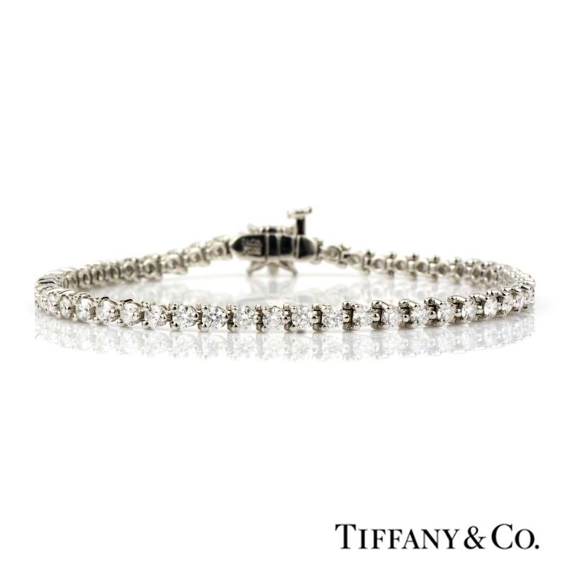 d2f34cdb8 Platinum Tiffany & Co Round Brilliant and Marquise Cut Victoria Diamond  Line Bracelet 3.26cts - Rich Diamonds Of Bond Street