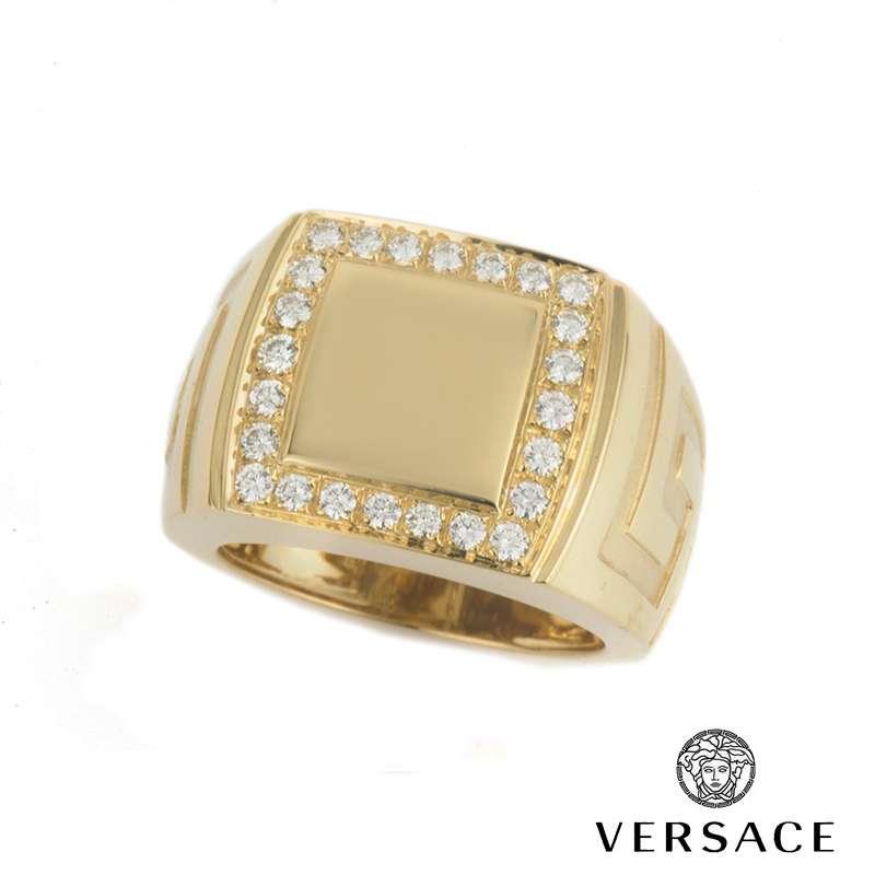 Versace 18k Yellow Gold Diamond Ring