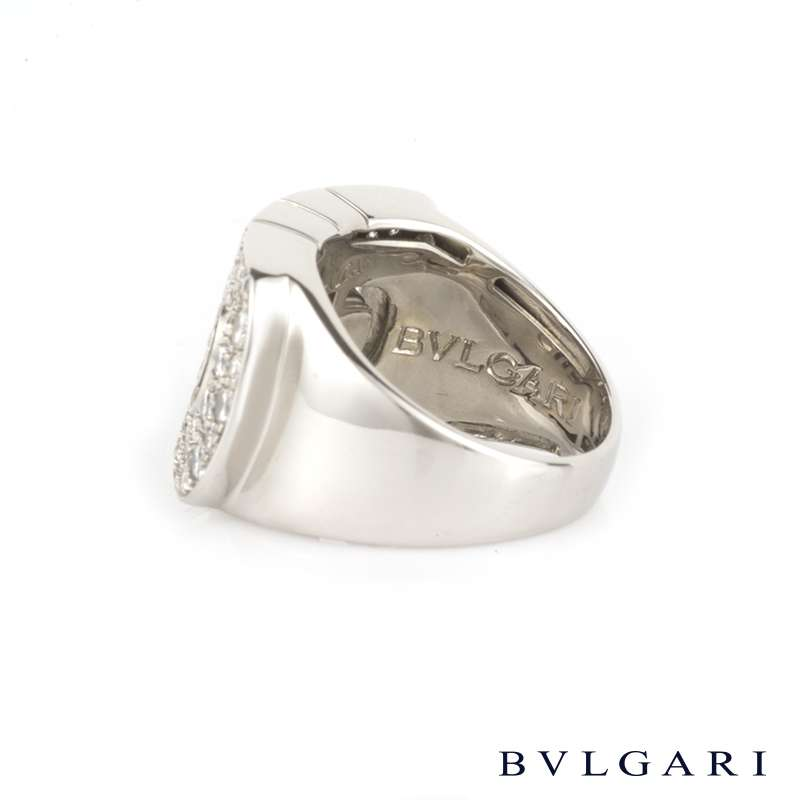 Bvlgari 18k White Gold Parentesi Double Row Diamond Ring