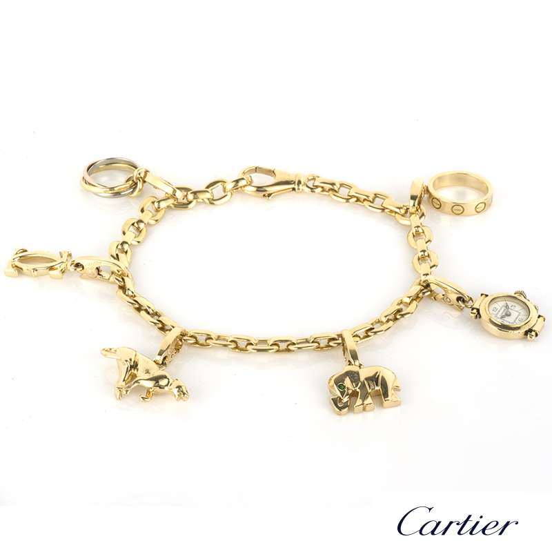cartier 18k yellow gold charm bracelet rich diamonds of