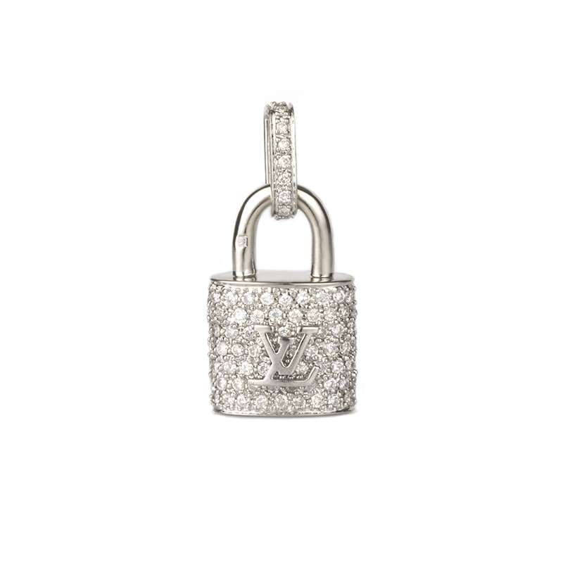 Louis Vuitton 18k White Gold Diamond Padlock Pendant