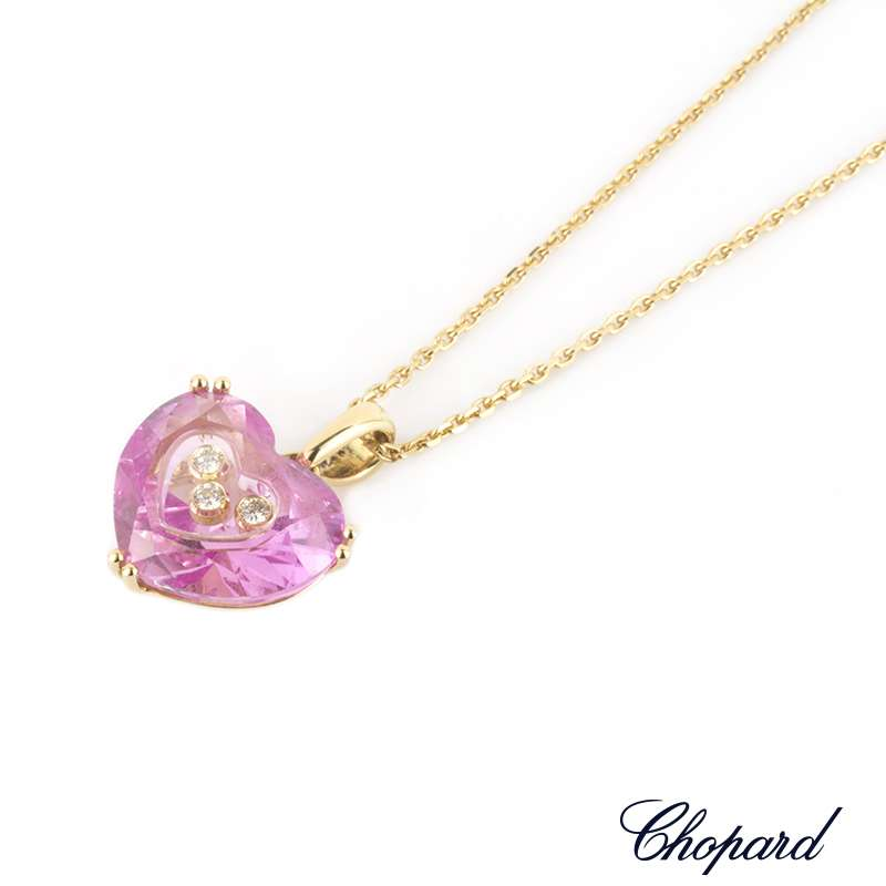 Chopard 18k yellow gold so happy diamond synthetic pink sapphire chopard 18k yellow gold so happy diamond synthetic pink sapphire pendant 796233 0017 aloadofball Choice Image