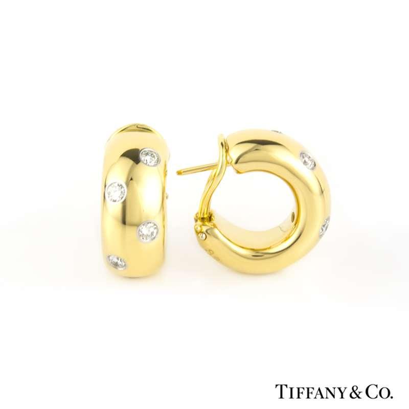 d8198e127 Tiffany & Co. 18k Yellow Gold Diamond Etoile Hoop Earrings - Rich ...