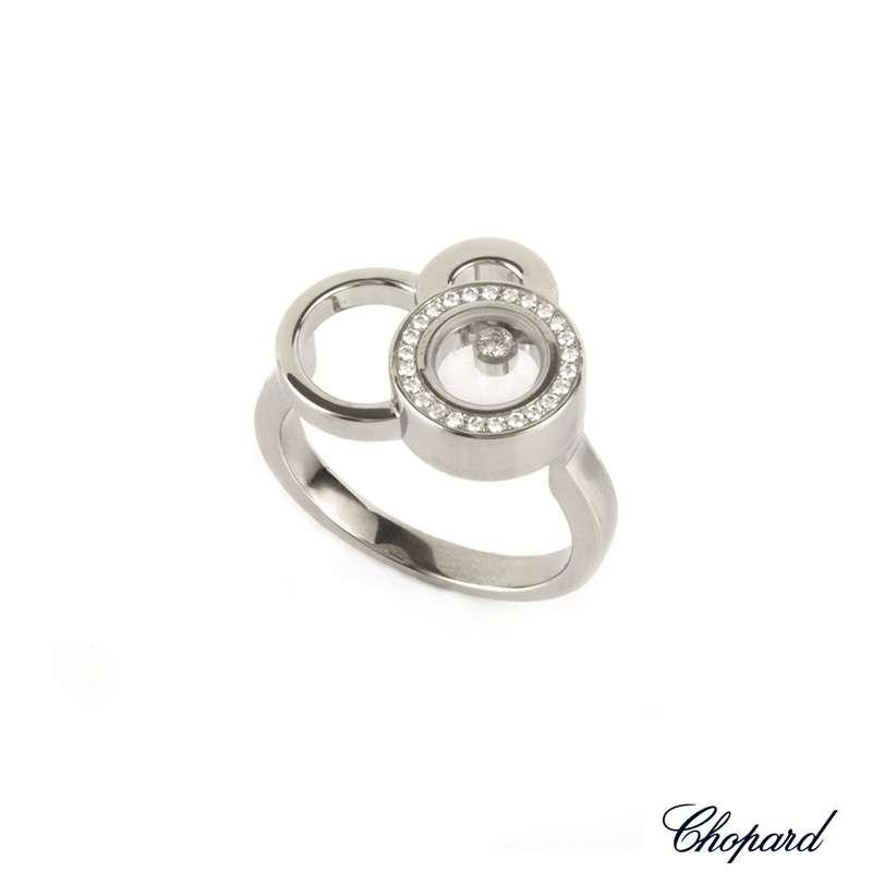 18WG Chopard Sapphire Happy Diamond Ring 82/2896/3-20