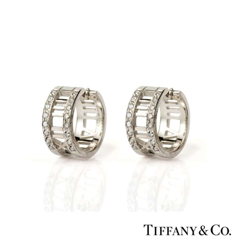 bb6e7b69c Tiffany & Co. 18k White Gold Atlas Hoop Earrings - Rich Diamonds Of Bond  Street
