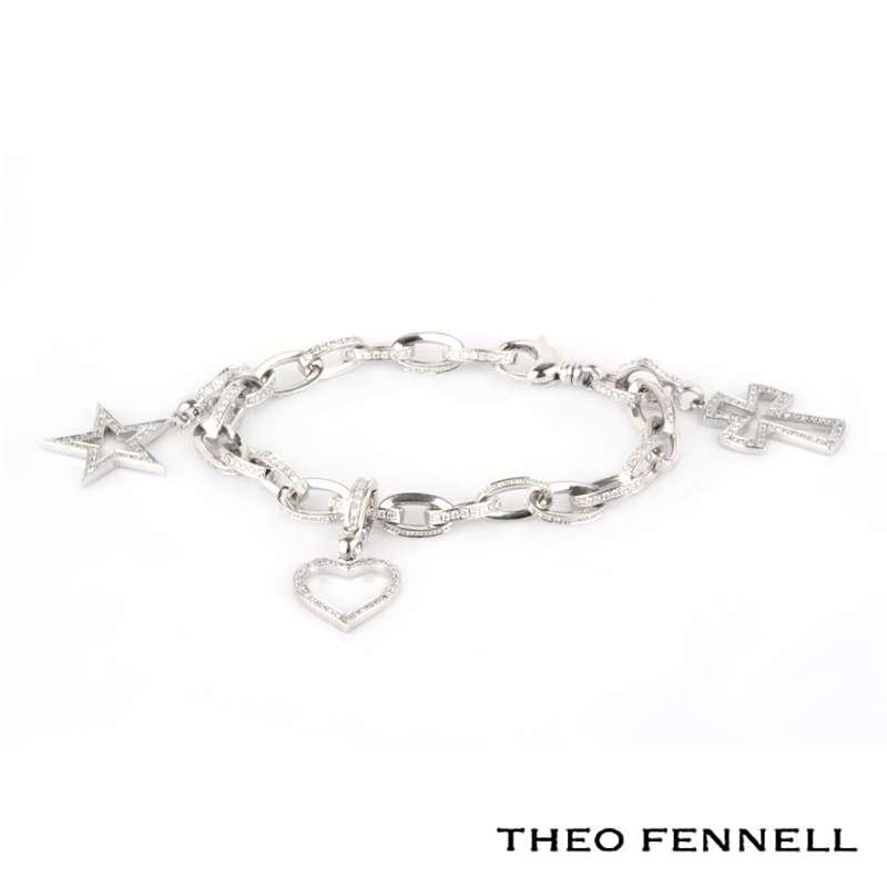 Theo Fennell 18k White Gold Pave Set Diamond Charm Bracelet