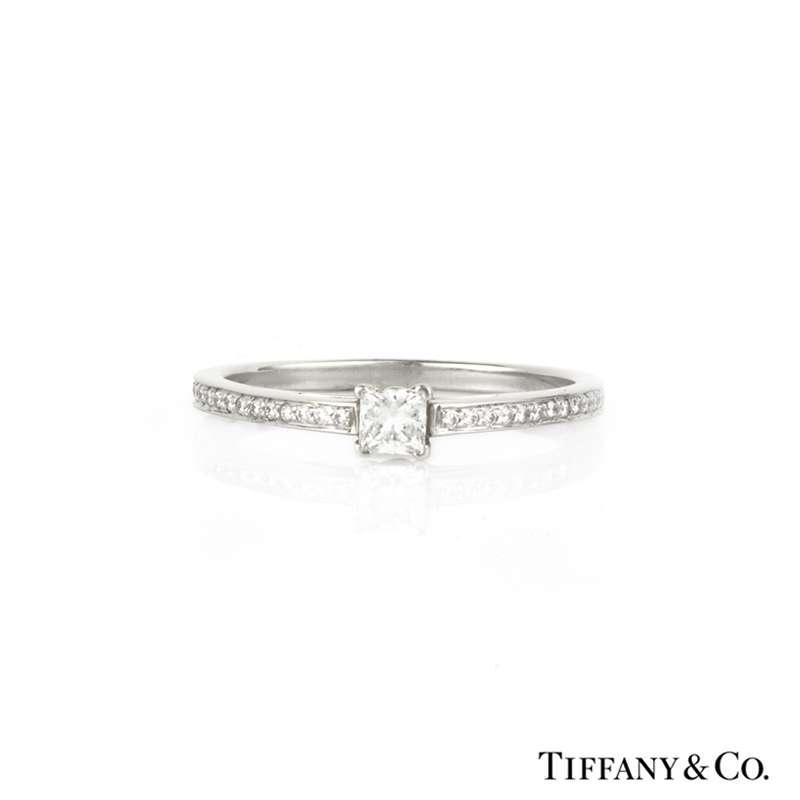 698513f903bbe Tiffany & Co. Princess Cut Diamond Grace Ring in Platinum 0.25ct G/VS1