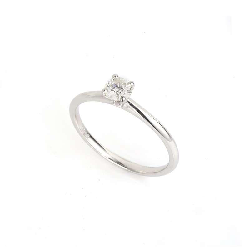 18k White Gold Round Brilliant Cut Diamond Ring 0.36ct H/SI1