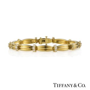 Tiffany & Co 18k Yellow Gold Diamond Set Bracelet c1992